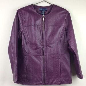 Susan Graver Faux Leather Purple Jacket